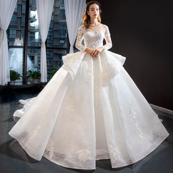 Illusion White See-through Bridal Wedding Dresses 2020 Ball Gown Square Neckline Long Sleeve Backless Appliques Lace Beading Chapel Train Ruffle
