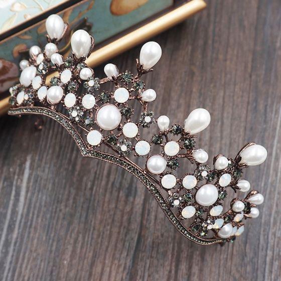 Vintage Bridal Jewelry 2017 Wedding Metal Accessories Rhinestone Tiara Ivory Pearl