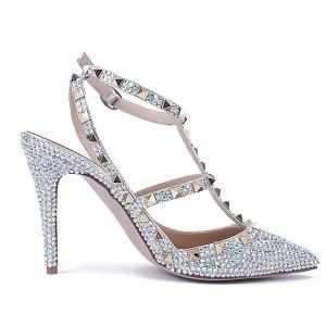 Sexy Multi-Couleurs Soirée Faux Diamant Sandales Femme 2020 Cuir Rivet 10 cm Talons Aiguilles À Bout Pointu Sandales