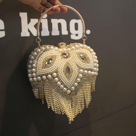 Fashion Gold Heart-shaped Clutch Bags 2020 Metal Pearl Rhinestone Tassel