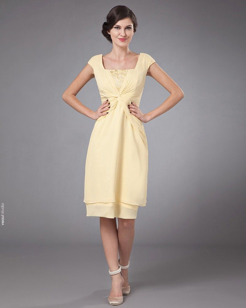 Charming Chiffon Ruffle Square Tea Length Mothers of Bride Guests Dresses