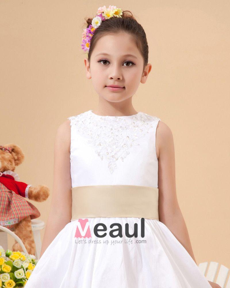 Satin Lace Bowknot Flower Girl Dresses