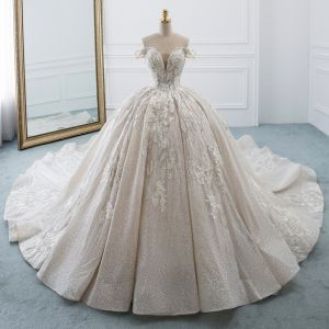 Luxury / Gorgeous Champagne Wedding Dresses 2019 Ball Gown Off-The-Shoulder V-Neck Short Sleeve Backless Appliques Lace Pearl Beading Glitter Polyester Cathedral Train Ruffle