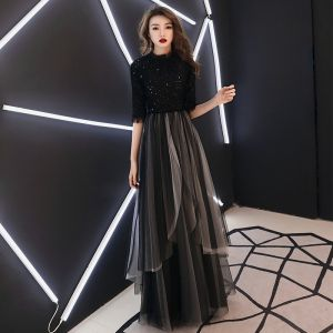 Chic / Beautiful Black Evening Dresses  2019 A-Line / Princess High Neck 1/2 Sleeves Glitter Sequins Floor-Length / Long Ruffle Formal Dresses