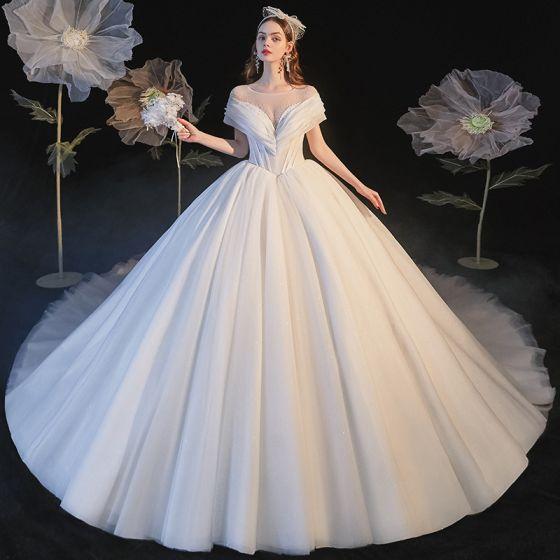 Proste / Simple Kość Słoniowa Suknie Ślubne 2021 Suknia Balowa Wycięciem Kótkie Rękawy Bez Pleców Trenem Królewski Ślub
