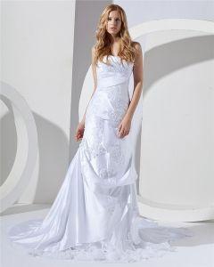 Blumen Emboidered Schatz Gericht Mermaid Brautkleider Hochzeitskleid
