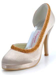 Les Nouvelles Chaussures De Mariage Impermeables A La Main De Perles Satin Chaussures A Talons Hauts Chaussures De Mariage De Partie