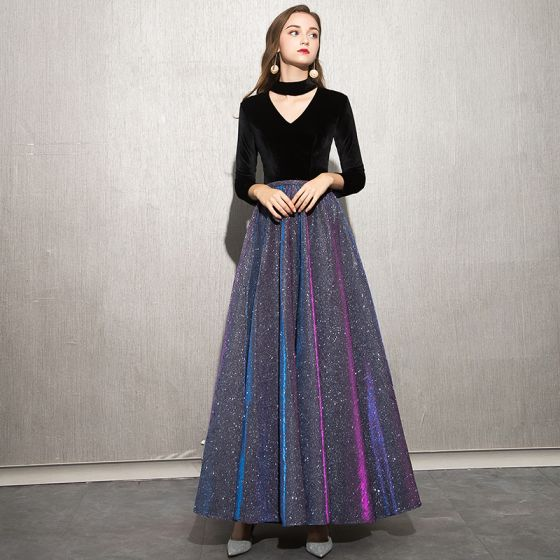 Charming Black Starry Sky Evening Dresses  2019 A-Line / Princess High Neck Suede Glitter Polyester 3/4 Sleeve Floor-Length / Long Formal Dresses