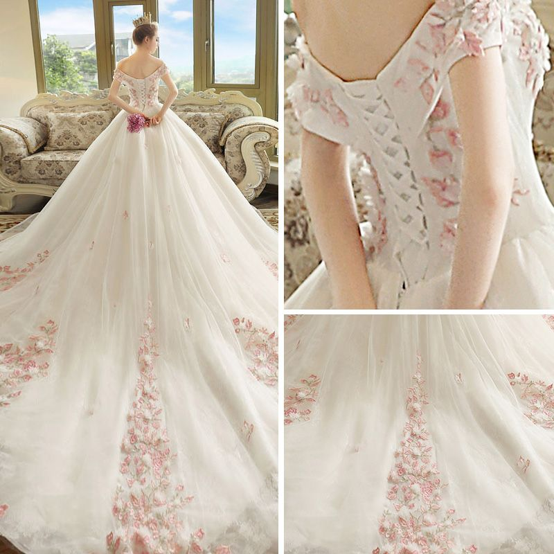 Chic / Beautiful Ivory Wedding Dresses 2018 Ball Gown Off-The-Shoulder Short Sleeve Backless Blushing Pink Appliques Lace Cathedral Train Ruffle
