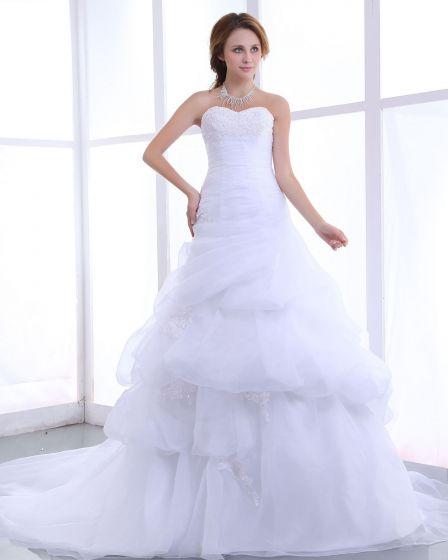 Kochanie Plisami Linke Organza Kaplica Pociagu Linii Suknie Ślubne Suknia Ślubna Princessa