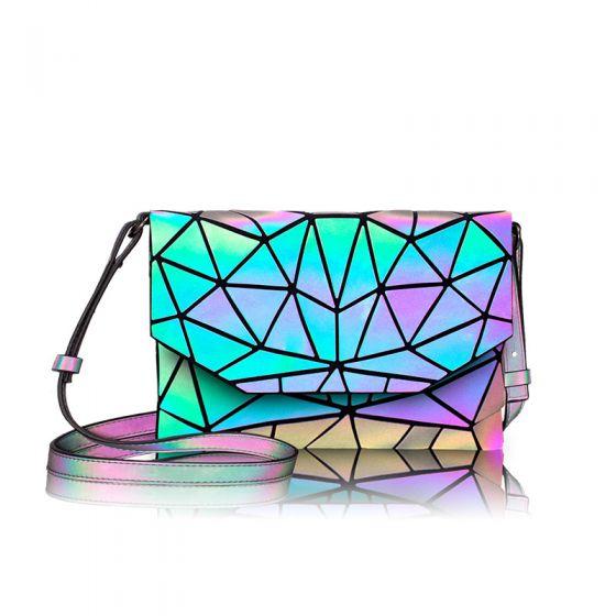 Regnbue Multi-Farver Lysende Geometrisk Firkantede Messenger taske Skuldertasker 2021 PU Holografisk Reflekterende Dametasker