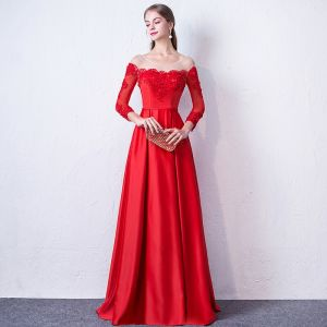 Elegant Red Evening Dresses  2017 A-Line / Princess Scoop Neck Long Sleeve Appliques Lace Beading Sash Floor-Length / Long Backless Pierced Formal Dresses