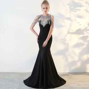 Mode Schwarz Abendkleider 2017 Mermaid U-Ausschnitt Rückenfreies Perlenstickerei Strass Abend Festliche Kleider