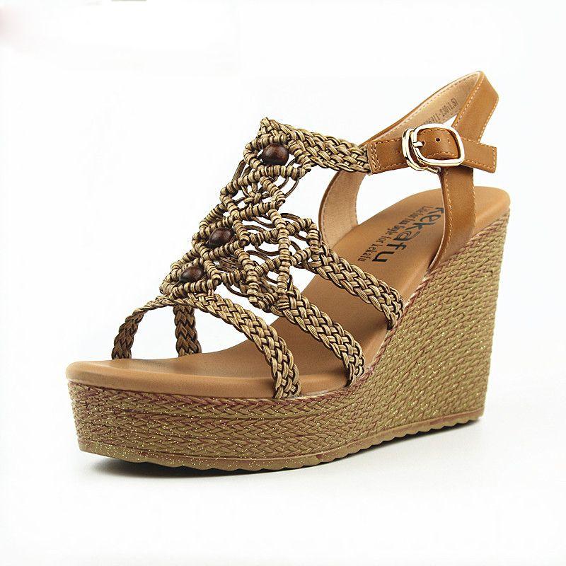 Cuña Toe Zapatos Casual Sandalias Verano Peep De Trenza Moda IYf6gbvm7y