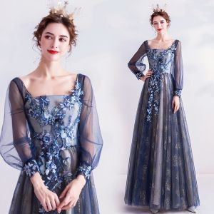 Vintage / Retro Navy Blue Prom Dresses 2020 A-Line / Princess Square Neckline Glitter Lace Flower Rhinestone Long Sleeve Backless Floor-Length / Long Formal Dresses