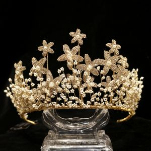 Charmant Gold Brautschmuck 2020 Legierung Strass Blumen Perlenstickerei Diadem Ohrringe Hochzeit Brautaccessoires