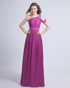 Elastic Satin Ruffle One-Shoulder Floor Length Prom Dresses