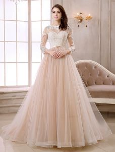 Elegant A-line Lace Neck Pierced Design 3/4 Sleeves Sash Champagne Organza Wedding Dress