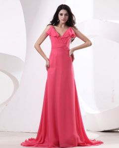 Chiffon Pleat V-Neck Floor Length Bridesmaid Dresses
