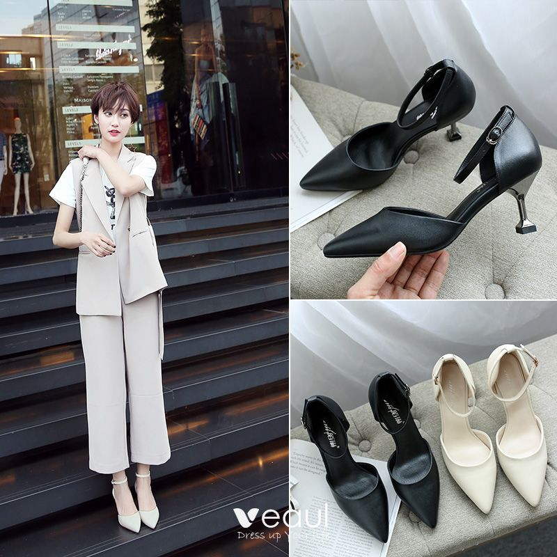 Chic / Beautiful Office Pumps 2017 Leather High Heel Pointed Toe