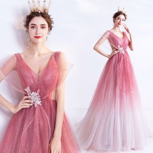 Fashion Candy Pink Gradient-Color Evening Dresses  2020 A-Line / Princess V-Neck Glitter Rhinestone Lace Flower Sleeveless Backless Sweep Train Formal Dresses
