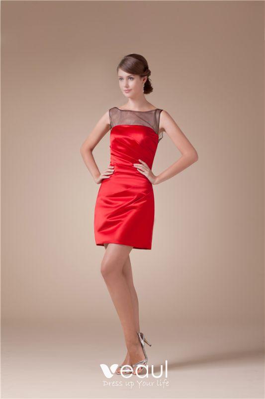 ofertas exclusivas moda mejor valorada nuevo diseño 2015 Hermoso Cuello De Tul De La Colmena Del Satén Vestido De Cóctel Corto  Vestido Rojo Del Partido