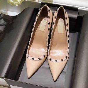 Chic / Beautiful Nude Pumps 2018 Rivet Leather 9 cm Pointed Toe Pumps
