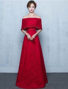 Elegantes Langes Abendkleid Burgund Spitze Von Der Schulter Festliche Kleid Mit Halben Ärmeln