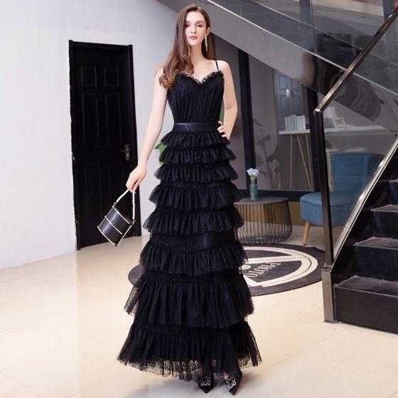 Piękne Czarne Święto Sukienki Wieczorowe 2020 Princessa Spaghetti Pasy Bez Rękawów Szarfa Długie Kaskadowe Falbany Bez Pleców Sukienki Wizytowe