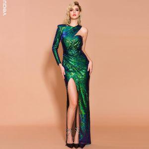 Scintillantes Vert Paillettes Robe De Soirée 2020 Trompette / Sirène Une épaule Manches Longues Fendue devant Longue Robe De Ceremonie