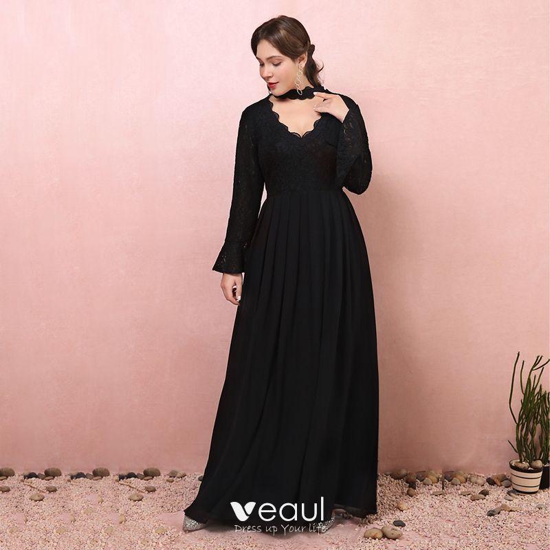 Amazing / Unique Black Plus Size Evening Dresses 2018 A-Line / Princess  Long Sleeve Tulle V-Neck Lace-up Backless Evening Party Prom Dresses