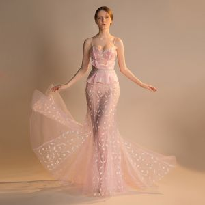 Sexy Blushing Pink See-through Evening Dresses  2018 Trumpet / Mermaid Sleeveless Spaghetti Straps Appliques Lace Crystal Beading Tassel Sweep Train Ruffle Backless Formal Dresses