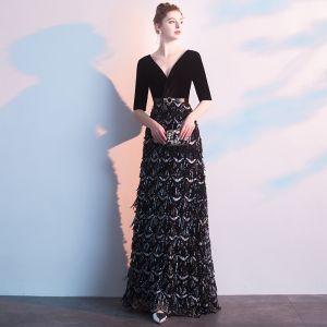 Charming Black Evening Dresses  2019 A-Line / Princess Deep V-Neck Suede Sash Sequins 1/2 Sleeves Floor-Length / Long Formal Dresses