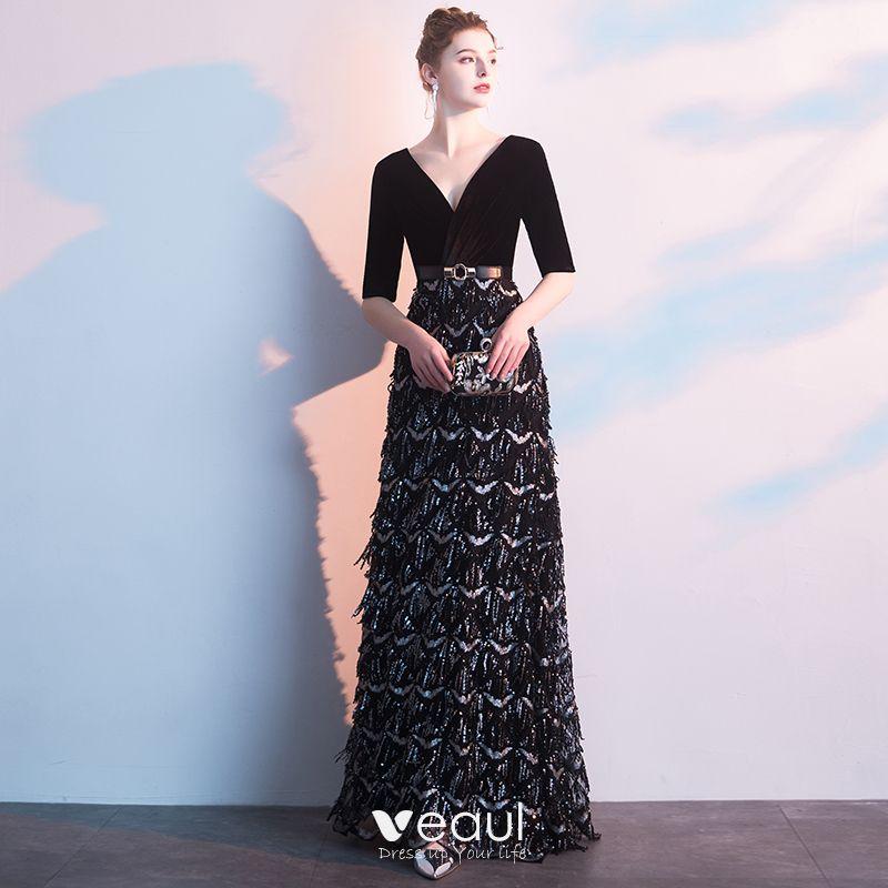 ef60ed6ae35 charming-black-evening-dresses-2019-a-line-princess-deep-v-neck-suede-sash- sequins-1-2-sleeves-floor-length-long-formal-dresses-800x800.jpg
