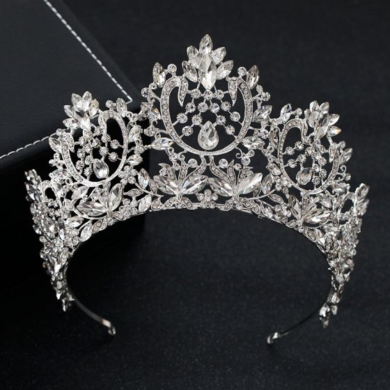 Vintage Plata Rhinestone Tiara Boda Accesorios 2019 Tocados de novia