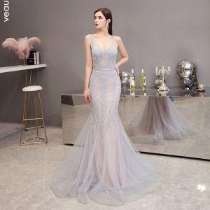 High-end Champagne Grey Evening Dresses  2020 Trumpet / Mermaid Deep V-Neck Sleeveless Beading Sash Sweep Train Ruffle Backless Formal Dresses
