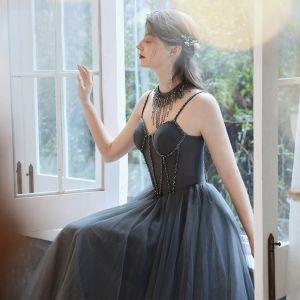 Eleganckie Szary Sukienki Wieczorowe 2020 Princessa Spaghetti Pasy Bez Rękawów Frezowanie Cekinami Tiulowe Długie Wzburzyć Bez Pleców Sukienki Wizytowe