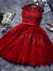 Hermoso Vestido De Cóctel De Color Rojo 2016 Vestido Corto Partido Del Cordón Con El Marco