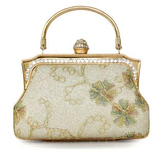 Hand Embroidered Vintage Glitter Packet Fashion Colorful Handbags Mini Satin Robes Bag Clutch Bags