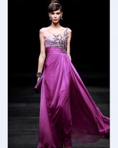 Empire Jewel Sleeveless Floor Length Embroidery Bead Satin Chiffon Evening Dresses
