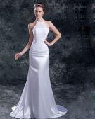 Chiffon Satin Sequins Jewel Court Train Sheath Wedding Dress