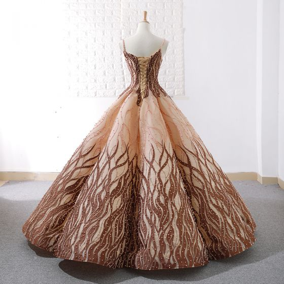 Luxury / Gorgeous Gold Brown Dancing Prom Dresses 2020 Ball Gown Spaghetti Straps Sleeveless Appliques Lace Beading Pearl Floor-Length / Long Ruffle Backless Formal Dresses