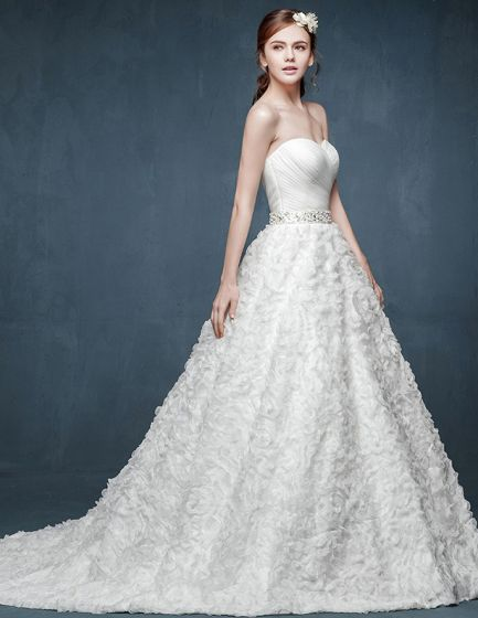 2015 Bra-type Flowers Waist Big Yards Pregnant Bride Wedding Dress