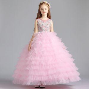 Najlepiej Rumieniąc Różowy Sukienki Dla Dziewczynek 2019 Suknia Balowa Wycięciem Bez Rękawów Aplikacje Z Koronki Frezowanie Długie Kaskadowe Falbany Sukienki Na Wesele