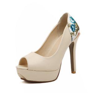 Elegante Blomster Peep Toe Imitert Skinn Stiletto Pumps / Hæler