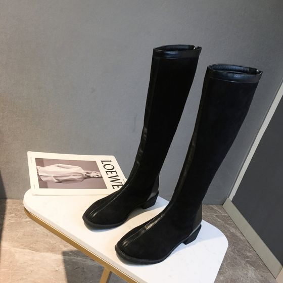 Schlicht Schwarz Freizeit Wildleder Stiefel Damen 2020 4 cm Low Heel Runde Zeh Stiefel