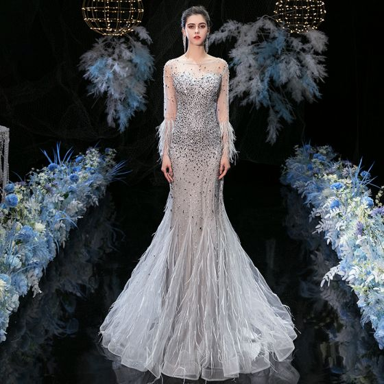 Luxury / Gorgeous Grey See-through Evening Dresses  2020 Trumpet / Mermaid Square Neckline Long Sleeve Feather Handmade  Beading Floor-Length / Long Ruffle Backless Formal Dresses