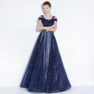 Scintillantes Bleu Marine Robe De Soirée 2018 Princesse Glitter Paillettes Métal Ceinture épaules Dos Nu Sans Manches Longue Robe De Ceremonie