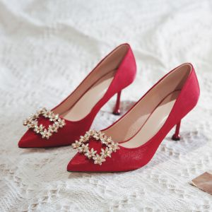 Chinese style Red Rhinestone Wedding Shoes 2020 8 cm Stiletto Heels Pointed Toe Wedding Pumps