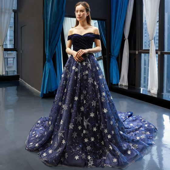 Luxury / Gorgeous Navy Blue Suede Evening Dresses  2019 A-Line / Princess Off-The-Shoulder Short Sleeve Appliques Lace Star Sequins Chapel Train Ruffle Backless Formal Dresses
